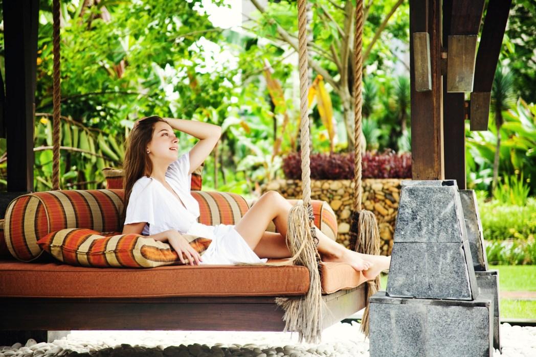 a woman enjoying sunbathing