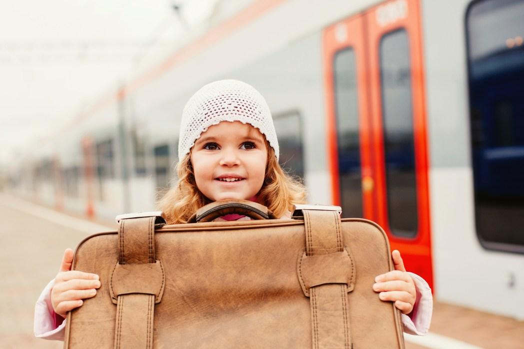 girl near a train