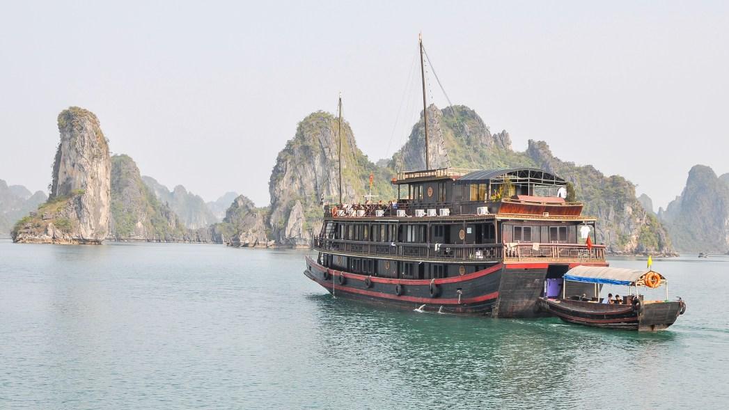 halong bay and boat