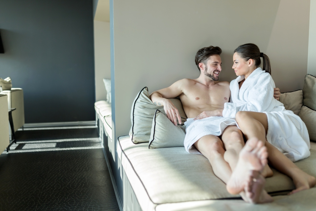 a couple in the bed