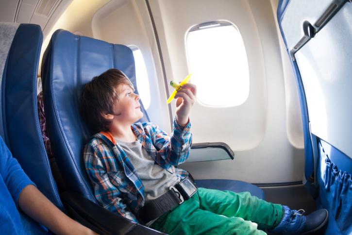 Boy on plane